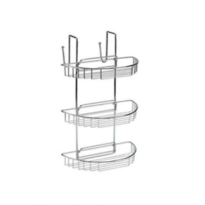 leezworld STAINLESS STEEL 3 TIER HANGING SHOWER CADDY BASKET RACK