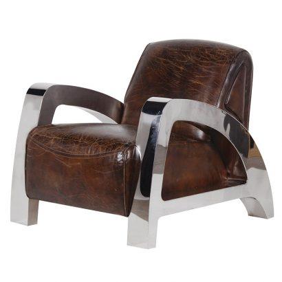 LEEZWORLD Antique Italian Leather Steel A-Frame Armchair