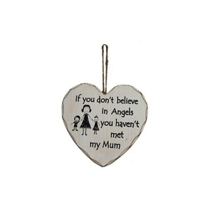 LEEZWORLD BELIEVE MUM ANGEL HANGING PLAQUE