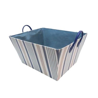 LEEZWORLD Blue Striped Tapered Fabric Storage with Handles