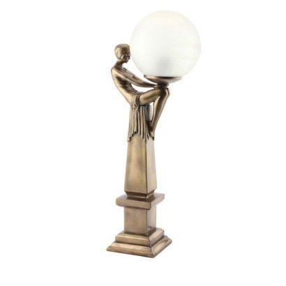 LEEZWORLD Bronze Figurine Lamp Art Deco