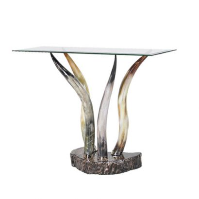 LEEZWORLD GLASS HORN CONSOLE TABLE