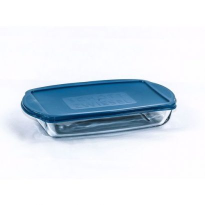 LEEZWORLD Glass Rectangular Dish with Lid – 28cm