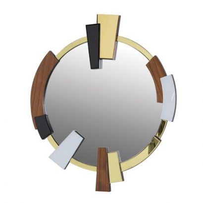 LEEZWORLD Round Wood & Glass Abstract Mirror