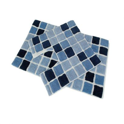 LEEZWORLD 2PC BLOCK BATH SET BLUE