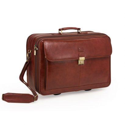LEEZWORLD Computer Briefcase Trolley brown