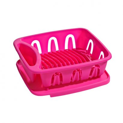 LEEZWORLD Dish Drainer, Hot Pink
