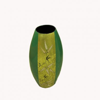 LEEZWORLD Green Oriental Oval Vase