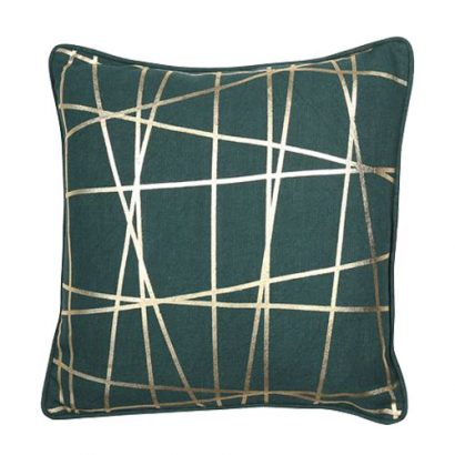 LEEZWORLD ABSTRACT FOIL LINES GOLD CUSHION