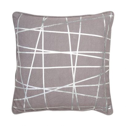 LEEZWORLD ABSTRACT FOIL LINES GREY CUSHION
