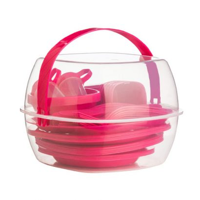 LEEZWORLD 51pc Picnic Set, Hot Pink Clear PP